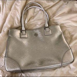Tory Burch Silver Metallic Tote Handbag